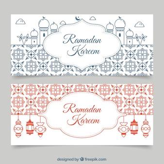 Ramadan kareem banner mit mosaiken