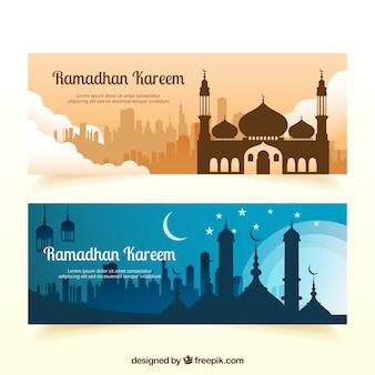 Ramadan kareem banner mit moschee