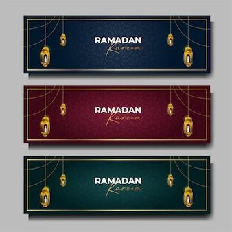 Ramadan kareem banner set