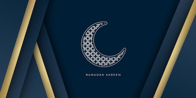 Ramadan kareem banner vorlage mit halbmond und goldener linie dekoration.