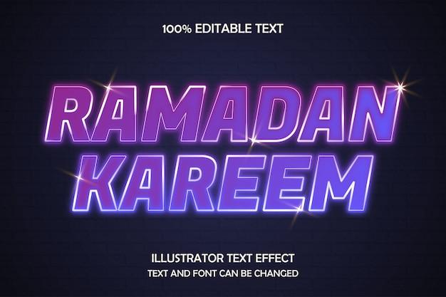 Ramadan kareem, bearbeitbarer texteffekt im modernen neonstil
