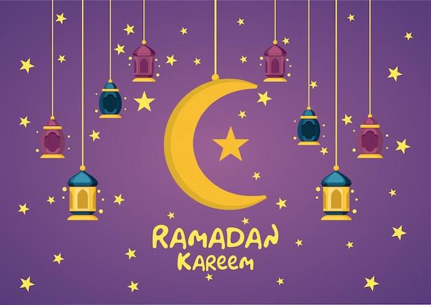 Ramadan kareem celebration background mit der arabischen fanoos-laterne