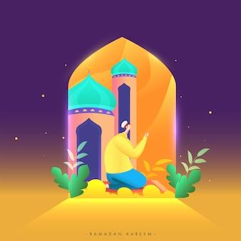 Ramadan kareem celebration poster design mit muslimischem mann, der namaz in der moschee anbietet