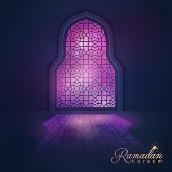 Ramadan kareem, das hintergrundlicht-moscheenfenster grüßt