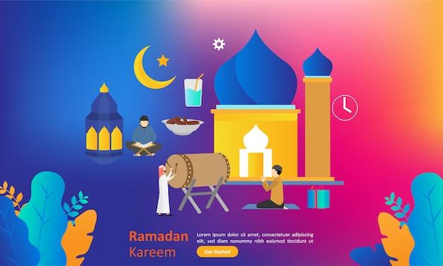 Ramadan kareem, der flaches design für netzlandungsseite grüßt