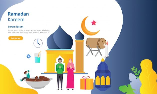 Ramadan kareem, der flaches design mit leutecharakter grüßt