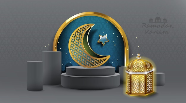 Ramadan kareem design mit gold arabic lamp grußkarte