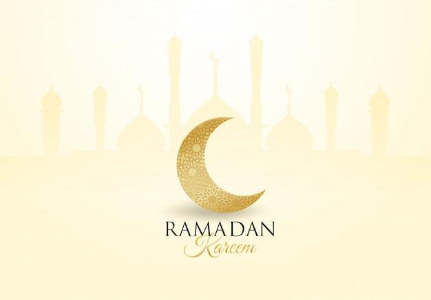 Ramadan kareem. entwerfen sie mit mond, laterne golden, licht und schatten.