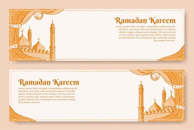 Ramadan kareem fahnenentwurf mit hand gezeichneter illustration der islamischen verzierung
