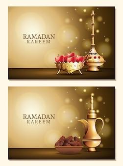 Ramadan kareem feier mit goldenen utensilien und äpfeln