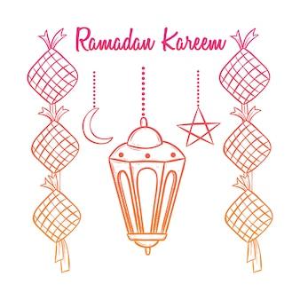 Ramadan kareem feier mit laterne und bunten doodle-stil