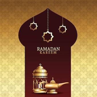 Ramadan kareem feier mit laternen und zauberlampe