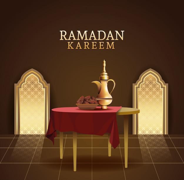 Ramadan kareem feier mit teekanne in tabelle illustration