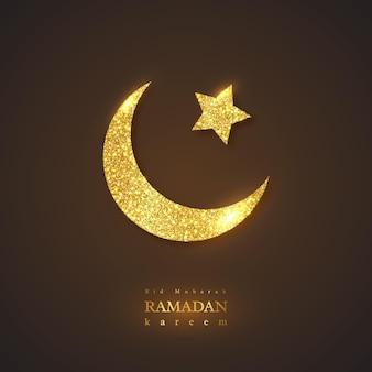 Ramadan kareem feiertagshintergrund. glitzerndes leuchtendes design, schwarzer hintergrund. illustration.