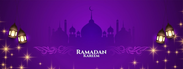 Ramadan kareem festival banner mit glitzer vektor