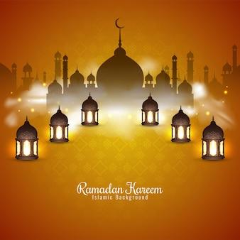 Ramadan kareem festival hintergrund mit laternen