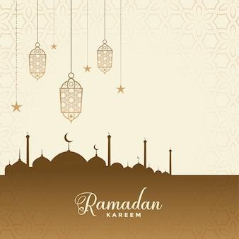 Ramadan kareem festival wünscht kartenhintergrund