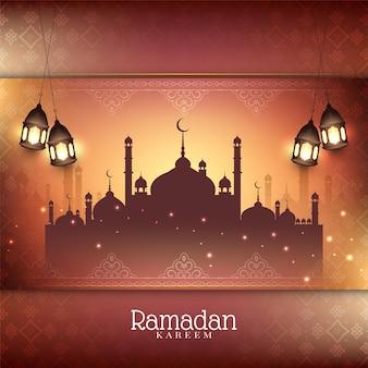 Ramadan kareem festivalhintergrund mit laternen und moscheenvektor