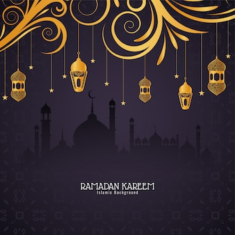Ramadan kareem festivalkarte mit goldenen laternen