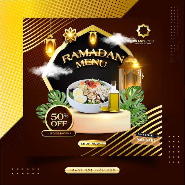 Ramadan kareem food menü social media post