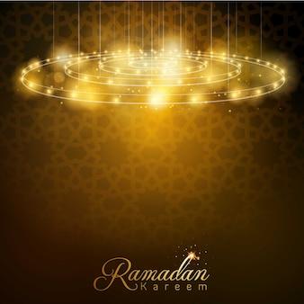 Ramadan kareem glimmlampe mit arabischem geometrischem muster