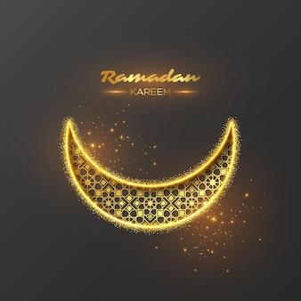 Ramadan kareem glitzer-feiertagsentwurf mit leuchtenden lichtern und goldenem muster. grauer hintergrund. illustration.