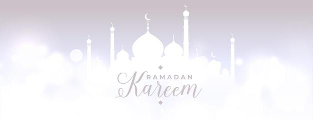 Ramadan kareem glühende himmlische szene banner design