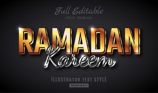 Ramadan kareem golden silver 3d text