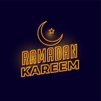 Ramadan kareem goldener neonbeschriftungshintergrund
