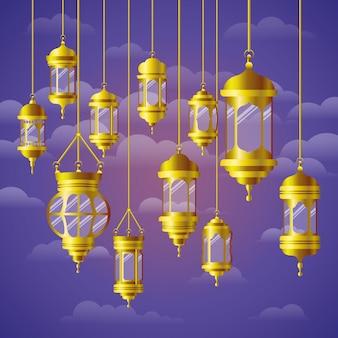 Ramadan kareem goldenes lampenhängen