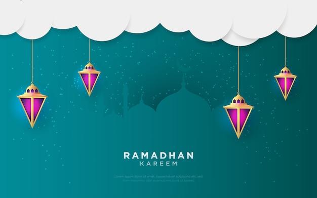 Ramadan kareem grüßt entwurf mit laternenhintergrund. illustration.
