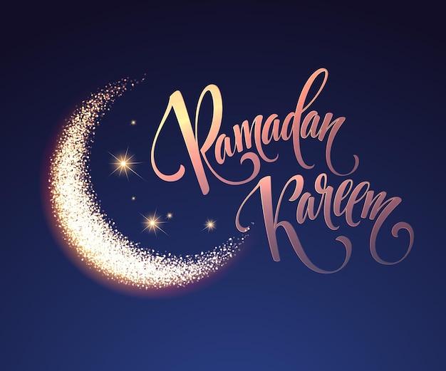 Ramadan kareem gruß-beschriftungskarte mit mond und sternen