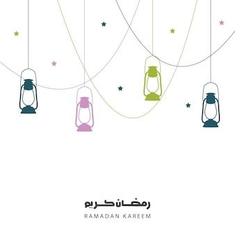 Ramadan kareem-gruß, hintergrund mit laternen