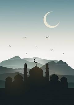 Ramadan Kareem Gruß-Karte mit Moschee