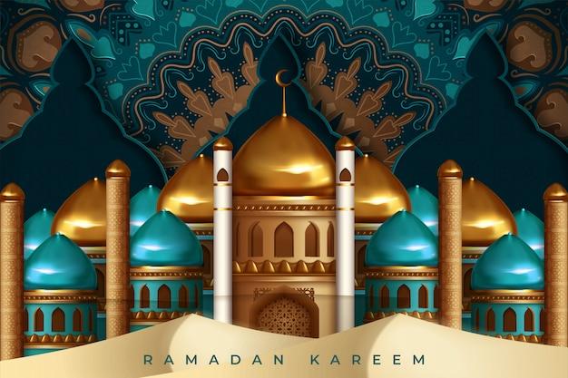 Ramadan kareem gruß mit moschee und handgezeichneter kalligraphiebeschriftung. illustration