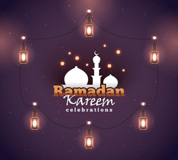 Ramadan kareem grußhintergrund. bunt zur begrüßung von postkarte, webbanner und druckmaterial. illustration.