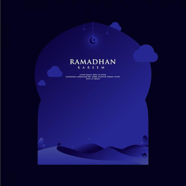 Ramadan kareem-grußhintergrund im rahmen mit wüste in unbedeutendem dunkelblauem