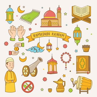 Ramadan-kareem-grußkarte hand gezeichneter vektor