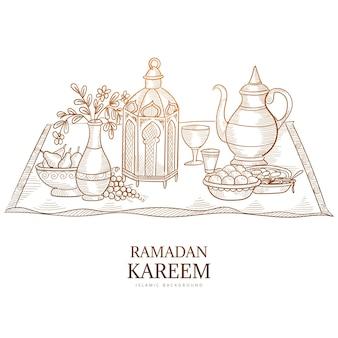 Ramadan kareem grußkarte hand zeichnen skizze
