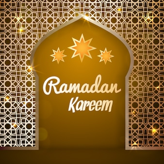 Ramadan kareem grußkarte. islamische goldene moscheetür. illustration für muslimischen heiligen monat ramadan.