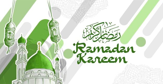 Ramadan kareem grußkarte mit hand gezeichneter fanous lantern illustration und grüner moschee