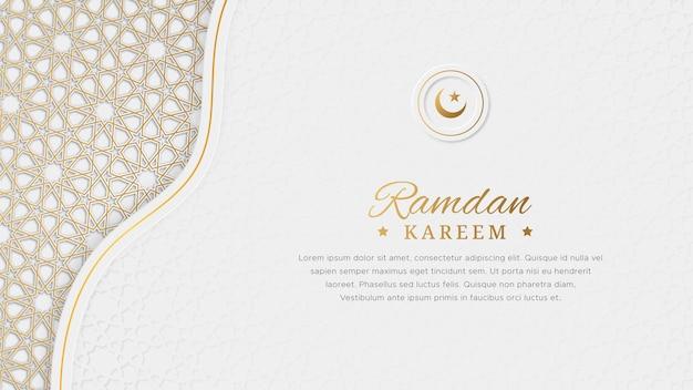 Ramadan kareem grußkarte mit islamischem musterrand und dekorativem ornament
