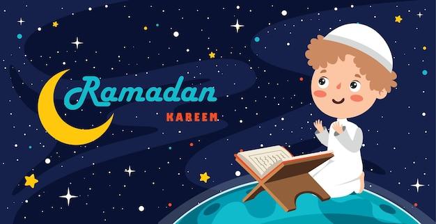 Ramadan kareem grußkarte mit kind, das auf der erde sitzt
