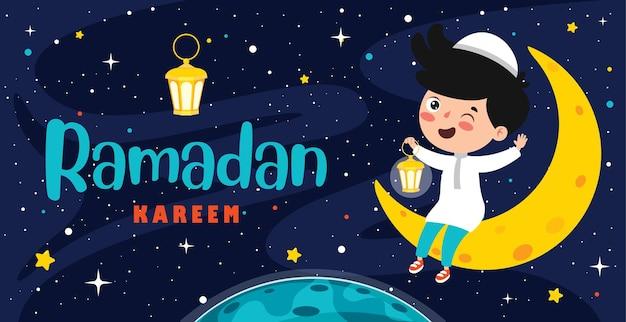 Ramadan kareem grußkarte mit kind, das auf halbmond sitzt