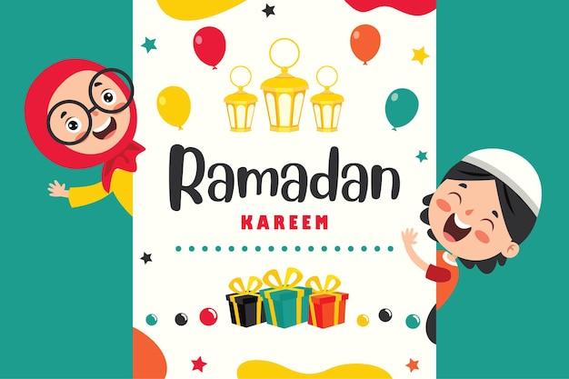 Ramadan kareem grußkarte mit kindern und festlichem zubehör