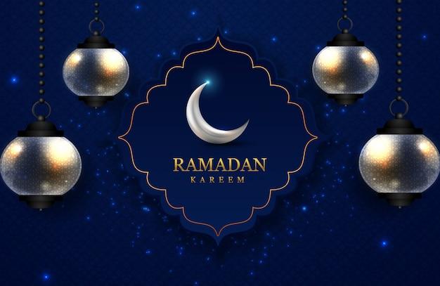Ramadan kareem grußkarte mit lampe und mond, schönes blaues hintergrundmuster & funkelnde lichter.