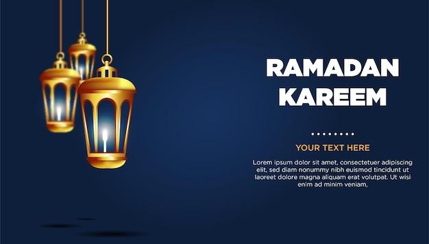 Ramadan kareem grußkarte mit lampen