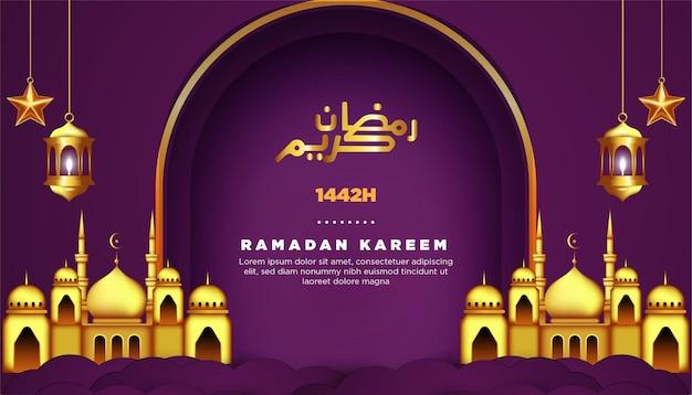 Ramadan kareem grußkarte mit moschee und lampen