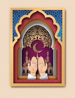 Ramadan kareem-grußkarte, papierkunst