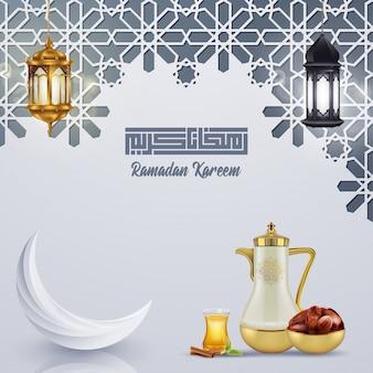 Ramadan kareem grußkartenschablone islamisch mit geomterischem muster.